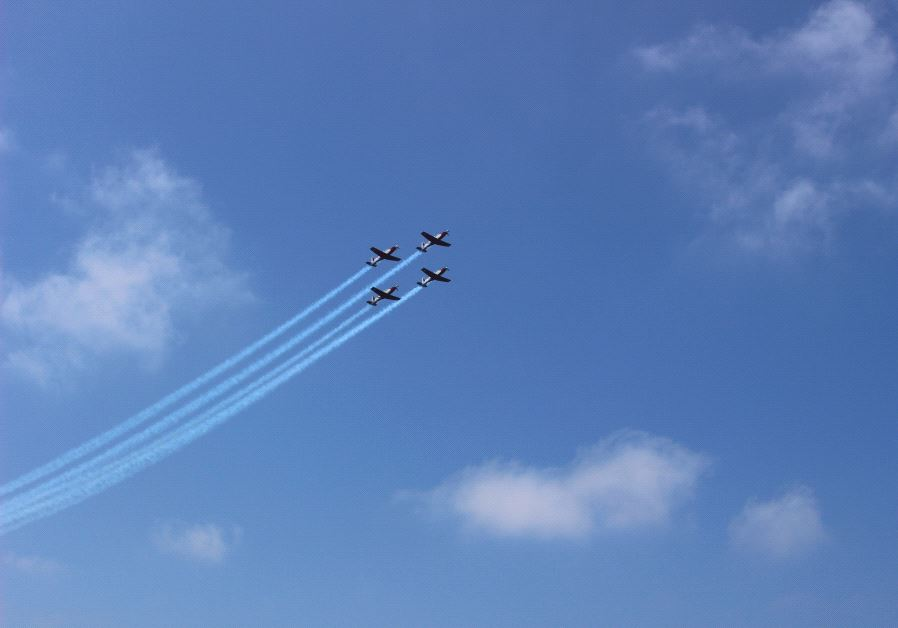 IAF jets take to the skies in a flyover marking Israel's Independence Day.