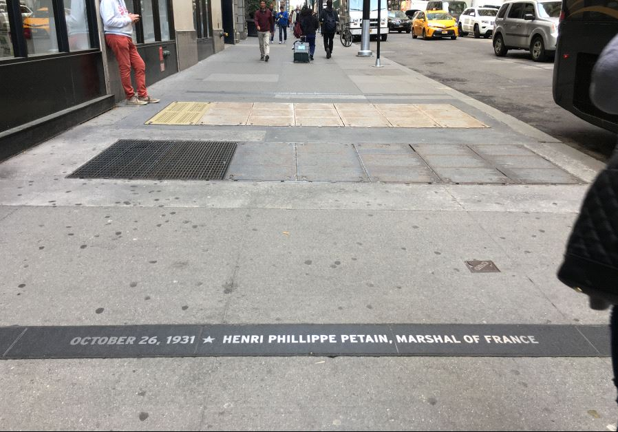 "The name of French Nazi collaborator Henri Philippe Pétain is engraved in New York City's ""Canyon of Heroes"" on Broadway, alongside those of historical figures such as Churchill, De Gaulle and Ben Gurion. Credit: Danielle Ziri"