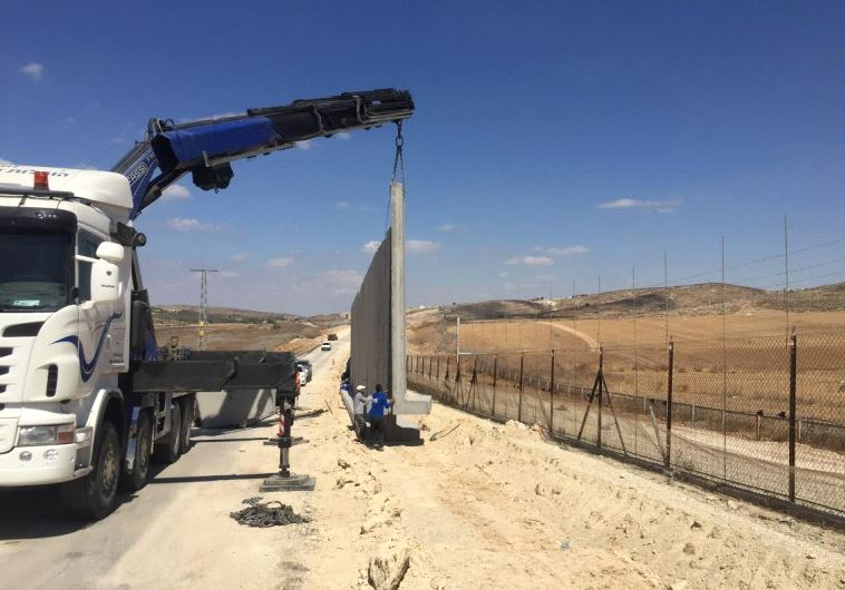44km of new concrete wall are being built along the Green Line west of Hebron to prevent terror infiltration in an area known as a porous section of border