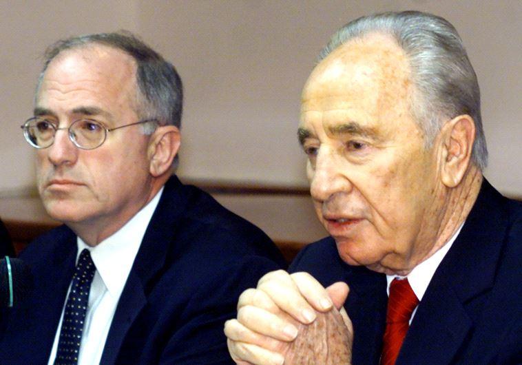 Former US ambassador Dan Kurtzer (left) sits with late former president Shimon Peres