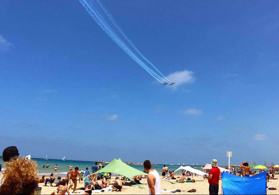IAF Independence Day flyover as seen from the Tel Aviv coastline.